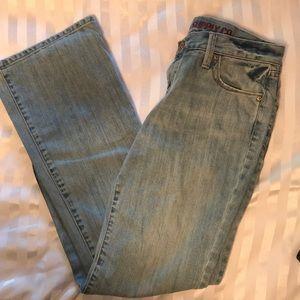 Light denim boot cut jeans